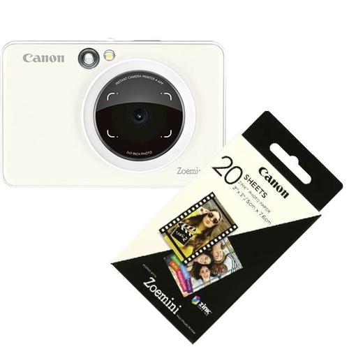 Canon Zoemini S Pearl White + Canon Zink 2x3 (5x7,6 cm) Fotopapier 20 Blatt